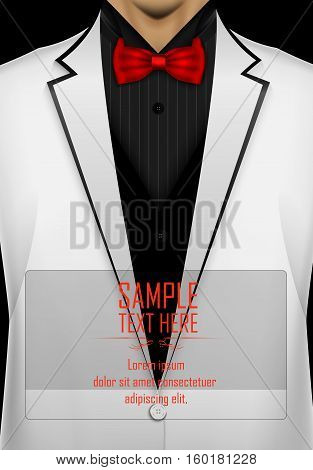 Vector illustration of White tuxedo with red bow tie
