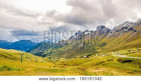 Road to Pordoi Pass (2239m) in Dolomites of Italy