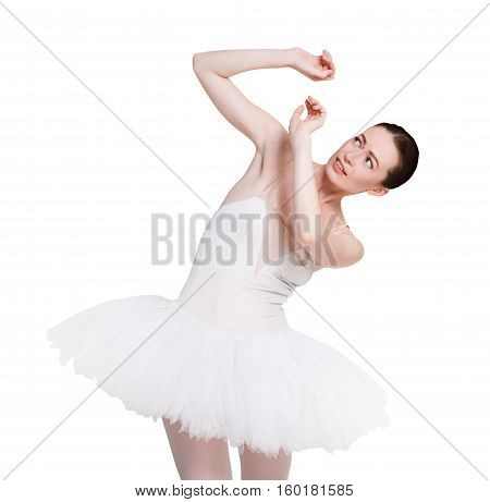 Scared ballerina portrait against white background, isolated. Professional dancer in tutu skirt afraids of something. Violence concept