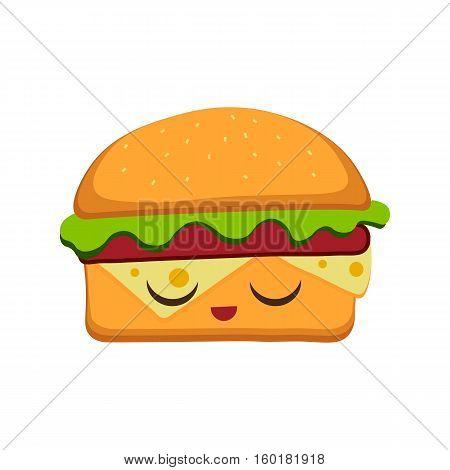 Hamburger vector illustration in flat cartoon style. Fast food background. Hamburger emoticon characters fun face