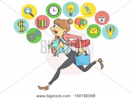 Manager woman or a clerk running all in stress, business icons above.