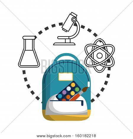 cartoon school bag palette paint brush chemistry laboratory vector illustration eps 10