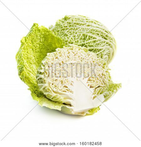 Savoy cabbage heads isolated on white background