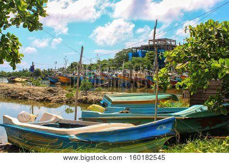 Colorful boats at harbor in Colombo, Sri Lanka