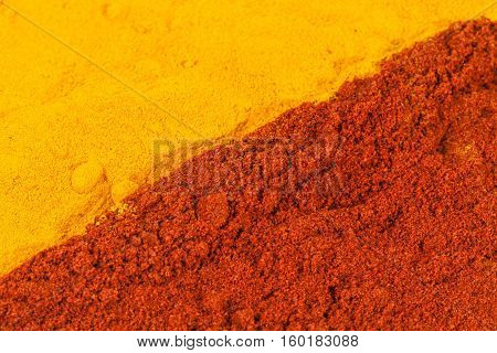 Background of curcuma and chili pepper powder