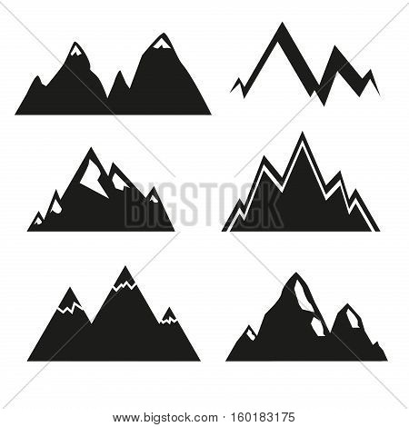 Set of vector mountain and outdoor adventures logo. Tourism hiking and camping labels. Mountains and travel icons for tourism mountains logo outdoor events and camping mountains silhouette.