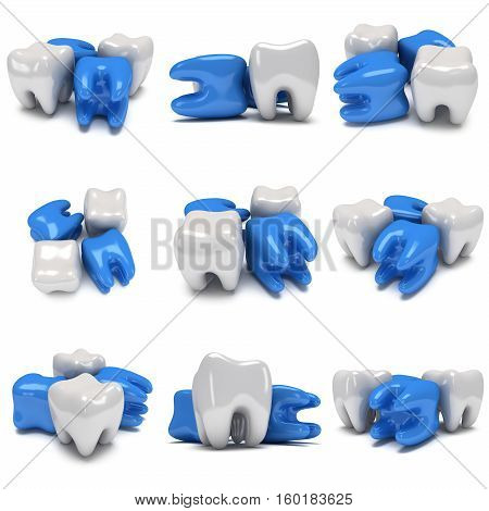 Aching and healthy teeth isolated on white background. 3D render. Dental medicine health out of crowd concept.