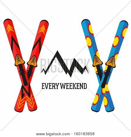 Ski vector illustration isolated on white background. Ski winter sport equipment snow mountain tools leisure. Cold extreme fun active winter skiing sport recreation.