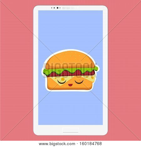 Smartphone with hamburger vector illustration in flat cartoon style. Fast food background in the screen. Hamburger emoticon characters fun face. Vector Illustration eps 10 for your design
