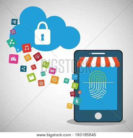 mobile device password store online cloud secure vector illustration eps 10