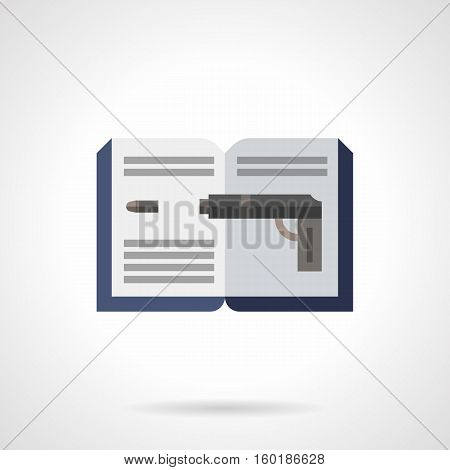 Literature genres concept. Symbol of open book and image of gun with bullet. Detective fiction and novels. Flat color style vector icon.
