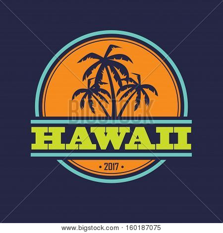 Colorful Hawaii label with text and palm silhouettes