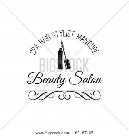 Beauty Salon Label. Mascara for Eyelashes. Eye Makeup. Badge Vector Illustration. Isolated On White