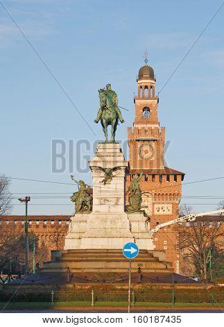 MILAN, ITALY - December 30, 2013 - Go to the left man, Giuseppe Garibaldi at Castello Sforzesco.