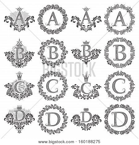 Vintage monograms set of letters A B C D. Heraldic coats of arms symbols in floral round frames.