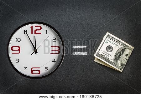 Money with  a clock face with the time at almost midnight. Business concept