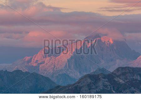 Sunrise in the mountains, Dolomites, Italian Alps, Italy
