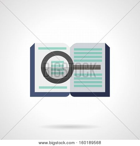 Open book with magnifier. Forensic examination and investigation. Symbol of reference and educational literature. Flat color style vector icon.