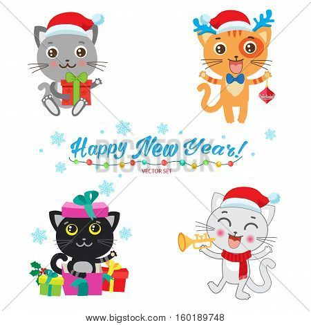 Set Of Cute Little Cats Cartoon Vector Collection. Christmas Kittens Vector. Cat In Christmas Costumes. Design For New Year.