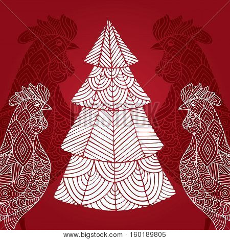 Christmas card with a picture of a rooster and christmas tree . Portrait of a rooster. Vector illustration