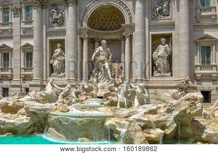 Rome Italy Famous Trevi Fountain Or Fontana Di Trevi