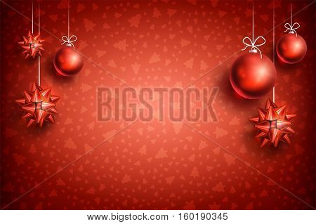 Merry Christmas and Happy New Year red background with red Christmas Ball and Bow. Christmas related ornaments objects on color background. Ready for your design. Vector Illustration.