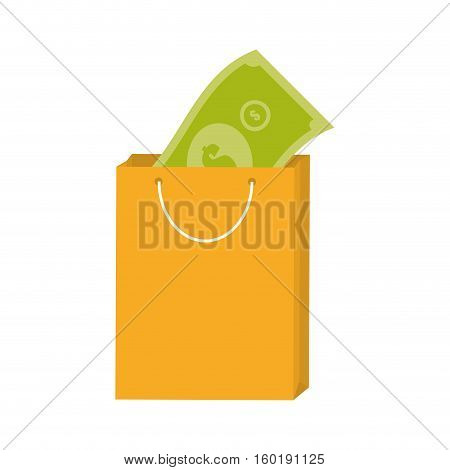 yellow bag gift present with bill money vector illustration eps 10