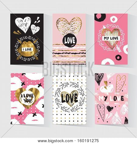 Cards with a trendy hipster print. Set creative cards. Valentine cards. Gold tribal print. Hipster invitation. Trendy gold style perfect for valentines day, birthday, save the date invitation