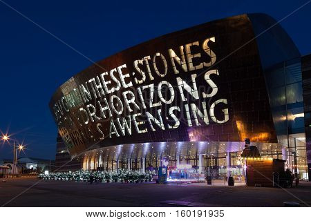 Cardiff, Wales, GB - December 4, 2016: Wales Millennium Centre (locally known as The Armadillo) the centre for performing arts, located in the Cardiff Bay area of Wales.