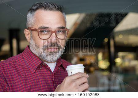Stylish Adult Man Drinking Coffee