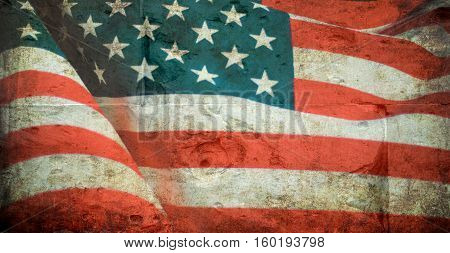United States flag on the grunge wall background