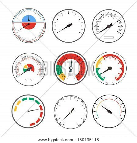 Manometer Temperature Gauge Round Devices Set Indicator Minimum and Maximum. Vector illustration
