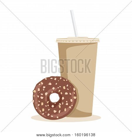 Cartoon coffee and donut. Vector illustration on white background.