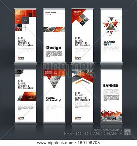Abstract business vector set of modern roll Up Banner stand design template with square, triangle, arrow, icons for exhibition, fair, show, exposition, expo, presentation, festival, parade, events