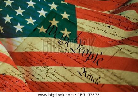Declaration of Independence and United States flag