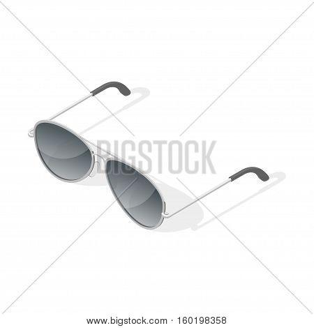 Isometric 3d vector illustration of aviator glasses. Isolated on white background.