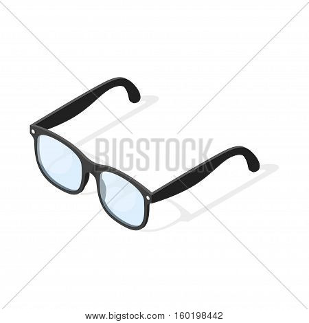 Isometric 3d vector illustration of hipster glasses. Isolated on white background.