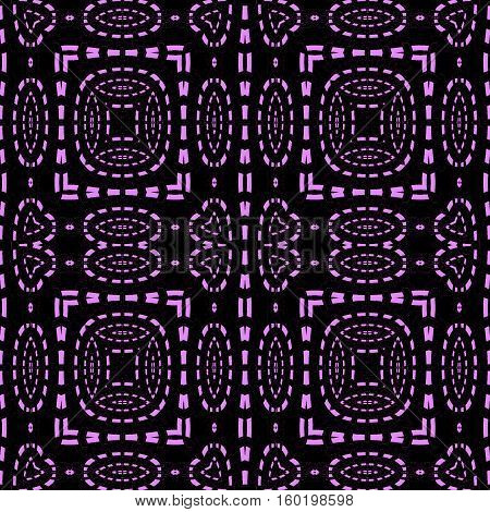 Abstract geometric seamless dark background. Regular squares and ellipses pattern violet on black.