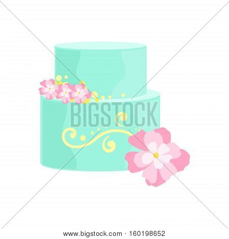 Tall Cake With Blue Icing And Pink Flowers Decorated Big Special Occasion Party Dessert For Wedding Or Birthday Celebration. Festive Sweet Pastry Centerpiece Element Design Flat Vector Illustration.