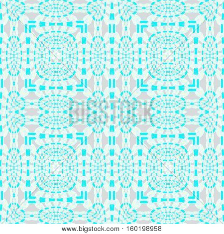 Abstract geometric seamless background. Regular squares and ellipses pattern turquoise blue and beige on light gray, ornate and intricate.