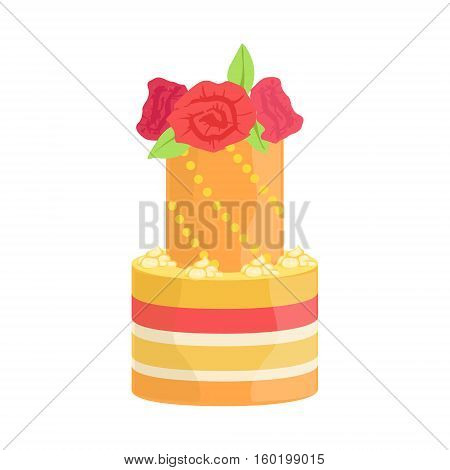 Tall Tower Cake With Real Roses Decorated Big Special Occasion Party Dessert For Wedding Or Birthday Celebration. Festive Sweet Pastry Centerpiece Element Design Flat Vector Illustration.