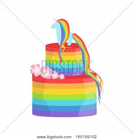 Rainbow And Unicorn Gay Pride Color Cake Decorated Big Special Occasion Party Dessert For Wedding Or Birthday Celebration. Festive Sweet Pastry Centerpiece Element Design Flat Vector Illustration.