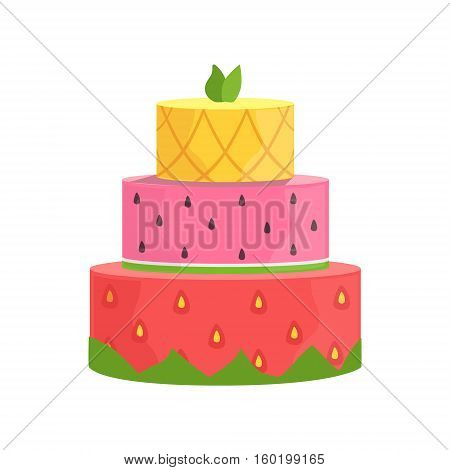 Three Layered Cake With Strawberry, Watermelon And Pineapple Decorated Big Special Occasion Party Dessert For Wedding Or Birthday Celebration. Festive Sweet Pastry Centerpiece Element Design Flat Vector Illustration.