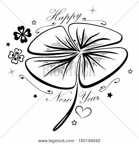 Happy New Year, big shamrock with silvester symbols