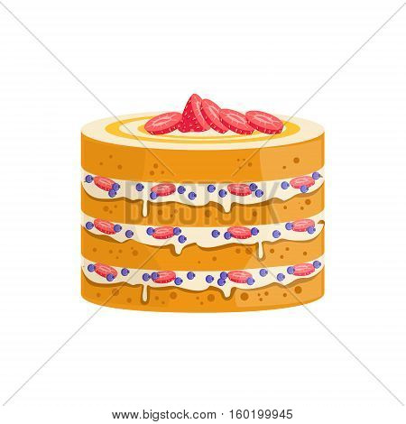 Sponge Cake With Berries And Cream Decorated Big Special Occasion Party Dessert For Wedding Or Birthday Celebration. Festive Sweet Pastry Centerpiece Element Design Flat Vector Illustration.