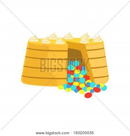 Cake With Colorful Chocolate Candy Inside Decorated Big Special Occasion Party Dessert For Wedding Or Birthday Celebration. Festive Sweet Pastry Centerpiece Element Design Flat Vector Illustration.
