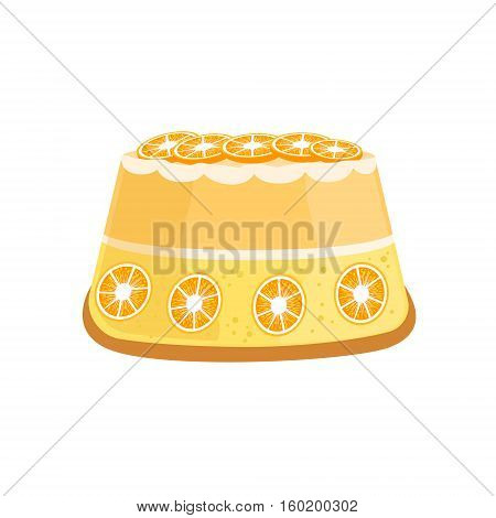 Orange Citrus Cake Decorated Big Special Occasion Party Dessert For Wedding Or Birthday Celebration. Festive Sweet Pastry Centerpiece Element Design Flat Vector Illustration.