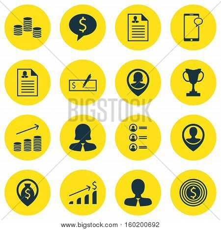 Set Of 16 Management Icons. Can Be Used For Web, Mobile, UI And Infographic Design. Includes Elements Such As Check, List, Job And More.