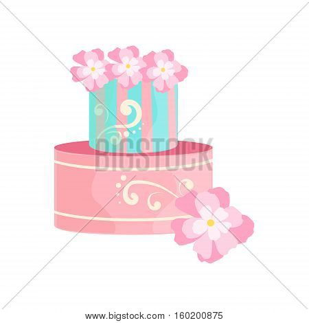 Blue And Pink Cake With White Patterns Decorated Big Special Occasion Party Dessert For Wedding Or Birthday Celebration. Festive Sweet Pastry Centerpiece Element Design Flat Vector Illustration.