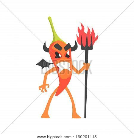 Devil Red Hot Chili Pepper Humanized Emotional Flat Cartoon Character With Wings And Horns Holding A Scepter. Funny Spicy Vegetable Flat Vector Emoji In Childish Manner.